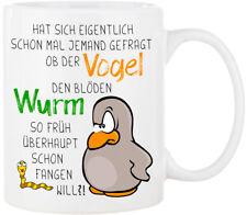 """Keramiktasse /""""Der frühe Vogel../"""" T314 Frühstück Morgenmuffel Geschenk bird Büro"""
