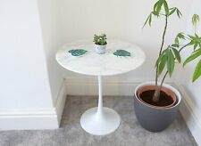 50cm Circular White Carrara Marble Side Table designed by Eero Saarinen