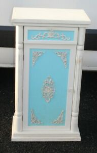 1970's White Painted Bedside Cabinet with Blue Decor.
