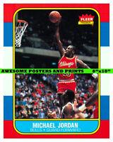 "1986 FLEER MICHAEL JORDAN #57 TRADING CARD AS AN 8""x10"" PHOTO - REPRINT"