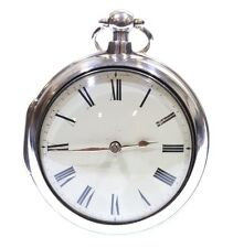 Antique Very Large 1818 Pair Cased Silver Fusee Verge Pocket Watch. Serviced