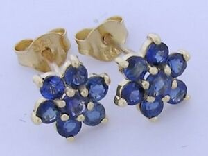 E058 Real 9ct Yellow Gold Natural Ceylon color Sapphire Drop Earrings with hooks