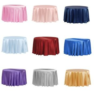 "120"" Inch Round Satin Tablecloth Wedding Party Table Cover Cloth Decor Baby"