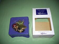 Peggy Abrams Bear on Star Large Glass Christmas Ornament with Box  5x4 inch