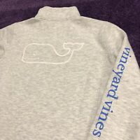 Vineyard Vines Sweater Adult Womens S Quarter Zip Gray Whale Spell Out