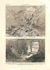 Bulgarie Guerre des Balkans Passe de Dragoman Bergerie de Tsaribrod GRAVURE 1885
