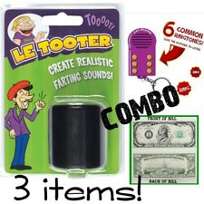 1 LE TOOTER Fart Pooter + 1 Funny Prank Key Chain sound machine + 1 Million Bill
