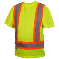 Pyramex Class 2 Reflective Short Sleeve X-Back Safety Shirt, Yellow/Lime