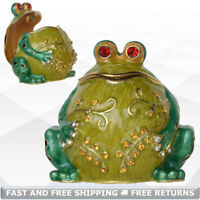 Frog Miniature Jewelry Trinket Box Hinged Lid Enamel Bejeweled Crystals Souvenir