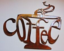 "Hot Coffee Cup Metal Wall Art Decor 9 3/4"" tall"