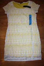 NWT Womens TIANA B. Yellow White Lace Dress Sz. L LARGE $98