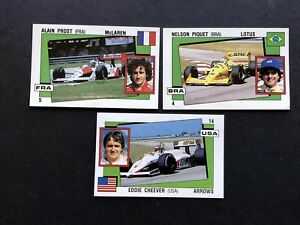 1987 Panini CARD Set Sticker Cheever Prost Piquet Racing Formula1 Supersport New