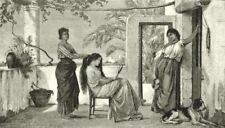 ITALY. A Toilet in Capri 1877 old antique vintage print picture