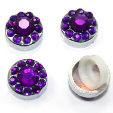 4 Purple Diamond Crystals Bling Car License Plate Frame Screw Bolt Covers Caps