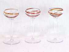 Lot of 3 Clear Orange Red Swirl Hand Blown Art Glass Cordial Liqueur Glasses