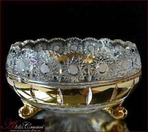 "Bohemia Crystal Vase for candy 21 cm, ""Mona Liza"" Gold, New!"