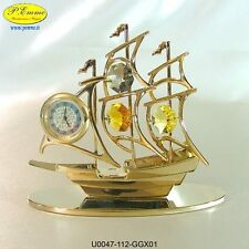 BARCA A VELA CON OROLOGIO 24K GOLD PLATED CRYSTOCRAFT SWAROVSKI ELEMENTS