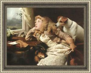 """Old Master-Art Antique Oil Painting art Small girl and dog on canvas 30""""X40"""""""
