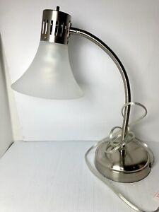 Hampton Bay 20in. Gooseneck Nickel Finish White Shade Desk Lamp. LED. NEW ✔️