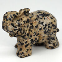 "2"" Dalmation Jasper Elephant Statue Animal Figurines Natural Gemstone sculpture"