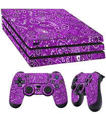 PS4 PRO SKIN Violet Motif Cachemire Bandana RAG AUTOCOLLANT + 2x pad vinyle