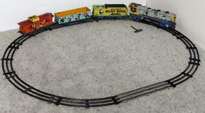"""DISNEY1950's""""MICKEY MOUSE METEOR TRAIN SET""""+BELL RINGING &SPARK CAPABILITY+TRACK"""