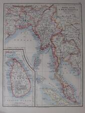 1904 Carte ~ Burma Assam & Malay Péninsule Ceylan Bihar Bengal Calcutta Siam