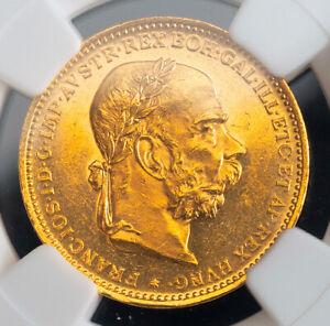 1893, Austrian Empire, Francis Joseph I. Gold 20 Corona Coin. PL? NGC MS-63!