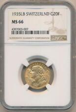 1935 LB Switzerland 20 Franc Gold, NGC MS66 Rare High Grade!