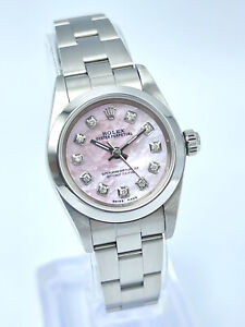 Ladies Rolex Oyster Perpetual 76080 24mm Mop Pink Diamond Dial Oyster 2004