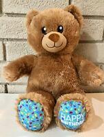 "Build a Bear 14"" Plush Happy Birthday! Extra Soft Brown Teddy Bear~ CLEAN!"