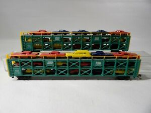 2 N Scale Bachmann Auto loaders with cars