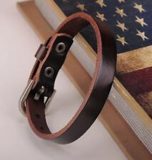 Genuine Leather Bracelet Buckle Cuff Men G458 Dark Brown Simply Cool Single Wrap