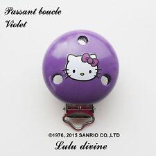 Pince / Clip en bois, attache tétine, passant boucle, Hello kitty : Violet