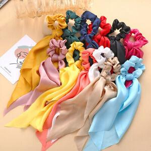 Women Silky Satin Scrunchies Elastic Long Ribbon Hair Rope Band Ponytail Scarf
