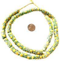 Handmade Cylinder Multi Green Colored Ghana Krobo Recycled African trade beads