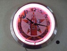 "15"" Texaco Gas ~ Route 66 Red Neon Quartz Wall Clock"