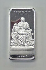 {BJStamps} MICHELANGELO  La Pieta 1.925 ozt .925 Silver Art BAR