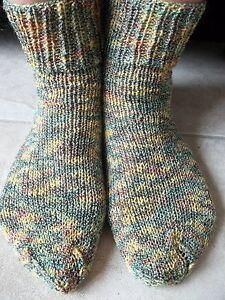 Hand knitted wool/cotton/nylon blend socks, olive tones