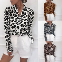Women V Neck Leopard Print Blouse Long Sleeve Casual Chiffon Shirt Plus Size6-20