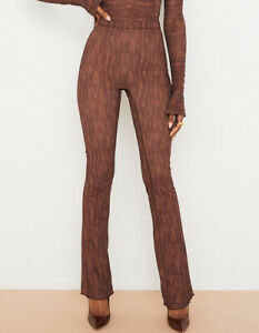 BNWT Gorgeous Women's HOUSE OF CB Brown Printed ERIN Trousers Size M RRP £79