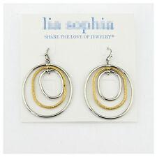 Lia sophia jewelry simple silver gold two tone hoop drop dangle cycle earrings