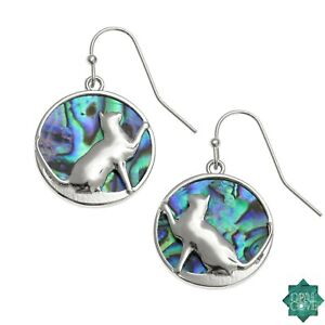 Cat Earrings Silver Fashion Jewellery Paua Abalone Shell Pendant