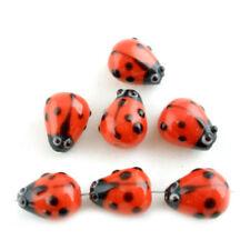 20Pcs Ladybug Lampwork Glass Spacer Beads Red 15x10mm F8U2 T6B7