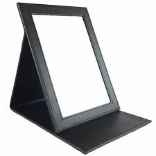 Table Mirror Stylish Black Faux Leather Folding Frame Travel Mirror Xmas Gift UK