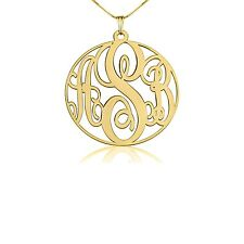 Monogram Necklace - XSmall 24k Gold Plated 0.8″ Circle Name Personalized Pendant