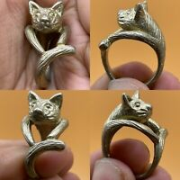 Wonderful old Silver beautiful Rare Unique Lovely cat Ring