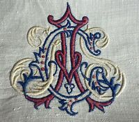 Antique French Tambour Embroidered Linen Cloth Textile Dragons Monogram  WW95