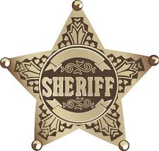 "Sheriff Police Pattern Star Emblem Sign Car Bumper Sticker Decal 5"" x 5"""