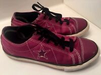 CONVERSE ONE STAR Purple Fuschia Sneakers Athletic Canvas Girls Shoes Size 2 ~